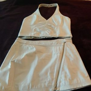 2 piece white leather halter top and skirt
